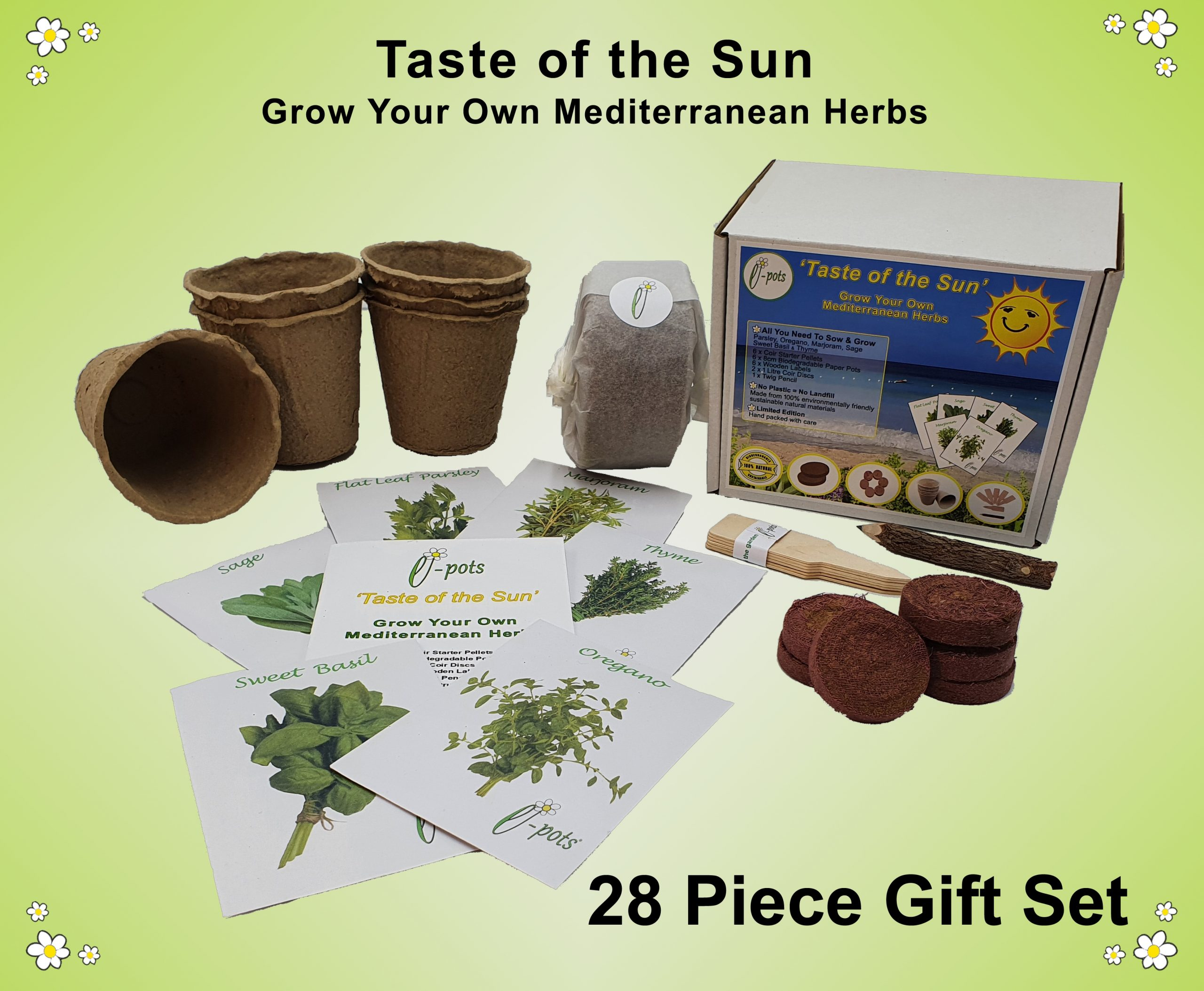 e-pots Taste of the Sun Grow Your Own Mediterranean Herbs contents