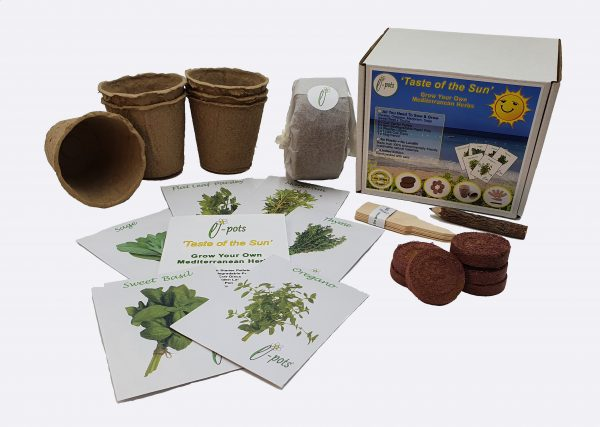 e-pots Grow Your Own Taste of the Sun Eco Herbs Kit and contents
