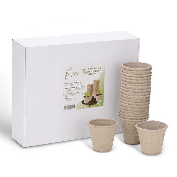 e-pots 100 x 8cm Biodegradable Paper Pots and box